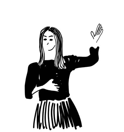 Businesswoman with thumbs up speaking. Cartoon person sketch
