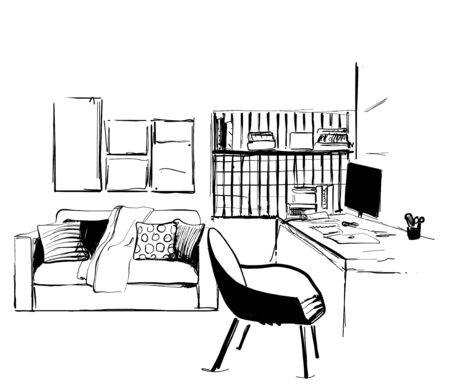 Hand drawn workplace. Furniture sketch. Office at home