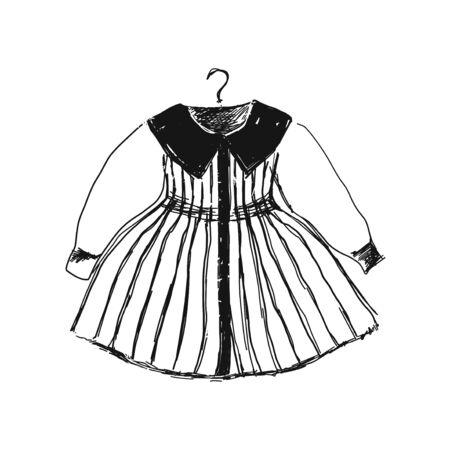 Baby dress on hanger. Clothes sketch. Hand drawn logo store