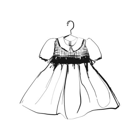 Baby dress on hanger. Clothes sketch. Hand drawn for store