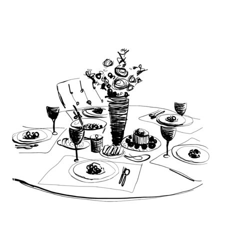 Vector illustration of a romantic table. Food and drink sketch