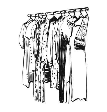 Wardrobe sketch. Clothes on the hangers. Hand drawn dress
