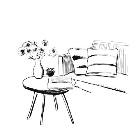 Hand drawn room interior. Sofa and table sketch. Illustration