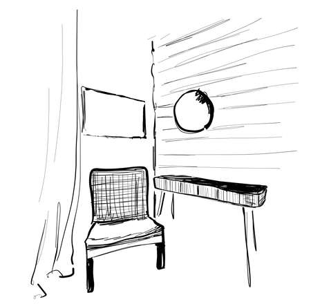 Place for reading with chair sketch. Room interior sketch. Relax Çizim