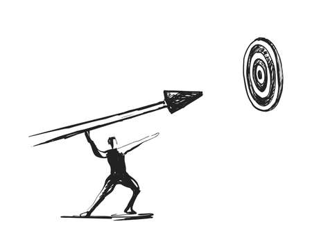 Businessman pointing at arrow in a target board. Businessman hitting at the center of target board. Ilustração