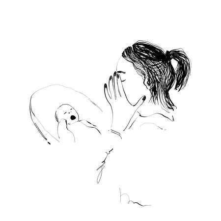 Illustration material Baby troubled mother who does not stop crying. Sketch