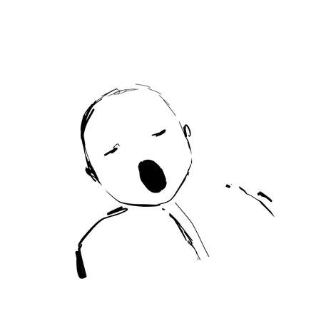 Drawing of a baby crying. Sketch. Logo