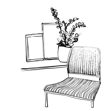 Place for reading with chair sketch. Home interior. Furniture