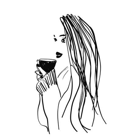 Sketch of girl drinking tea from cup. Hand drawn illustration