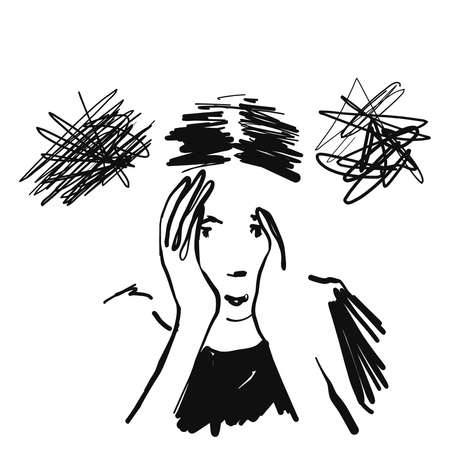 Human in depression. Chaos in the thinks and head. Illustration of stress