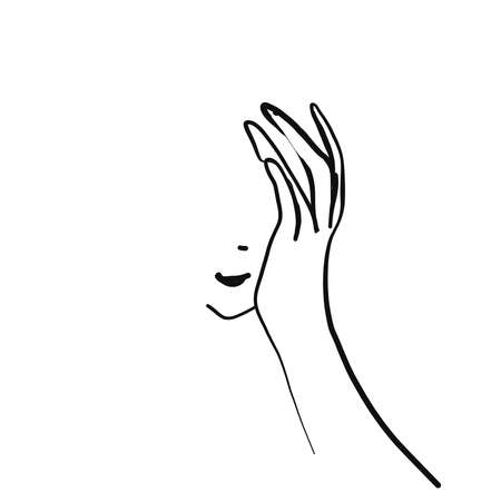 Vector logo with woman face and hand. Hand drawing illustration. Thinks