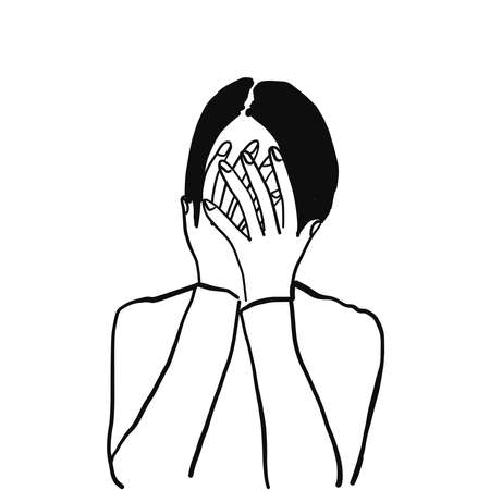 Vector illustration character of business woman cover her face with hands, crying, sad, tried, give up, failed, grief. Line draw, sketch, doodle style.