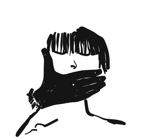 A mans hand covers the mouth of a girl. Illustration on the theme of adult abuse of woman. Sketch