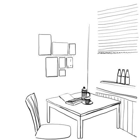 Interior sketch of modern kitchen. Table and chair Çizim