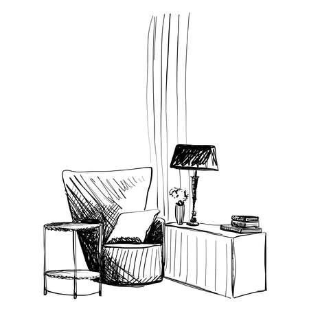 Hand drawn room interior. Reading place sketch