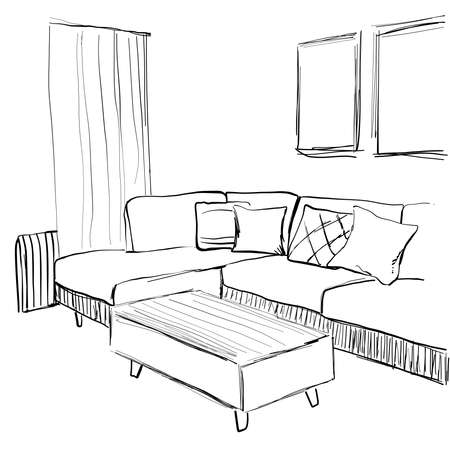 Room interior sketch. Home furniture. Sofa and pillow