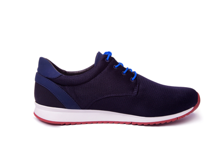 shoelace: One of blue mens sport shoes. Isolate on white. Stock Photo