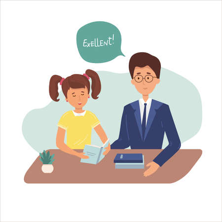 Girl is reading at home. learning lesson with help of teacher, mom. Child is doing homework. tutor helps with solving tasks. Home school, online education, knowledge concept. Vector flat Vettoriali