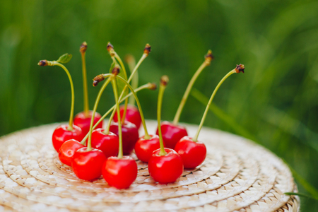 few ripe fruits of sweet cherry with twig on straw hat lying on the grass outdoors. Picnic on nature in the park close up healthy food, diet, personal care. sunny day