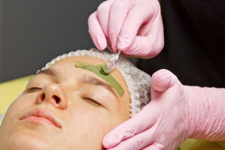 The concept of cosmetology. Close-up of a beautician applying a green mask with a brush on a womans face Zdjęcie Seryjne
