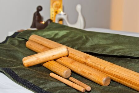A set of professional bamboo sticks for Thai massage. Preparation for the procedure of healing the soul and body