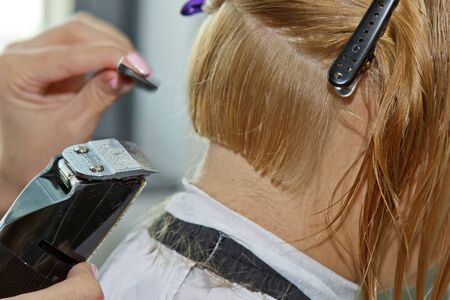 a professional hairdresser beautifies a womans hair, last accents with electric razor