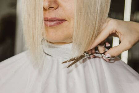 Closeup of a hairdresser cuts wet white hair of a client in a salon. Hairdresser cuts a woman. Side view of a hand cutting hair with scissors Фото со стока