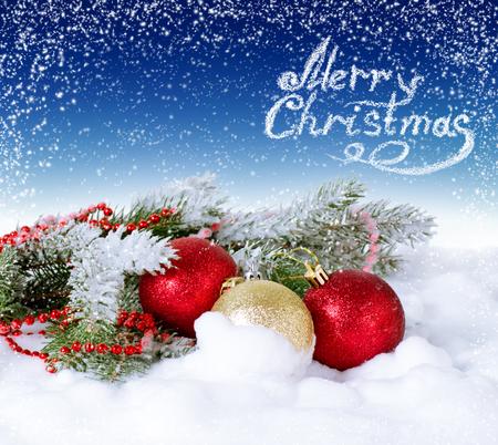 fur tree: Christmas card with balls and fur tree on the snow