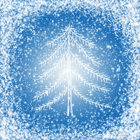 fur tree: Fabulous Christmas and New Year snow background with fur tree Stock Photo