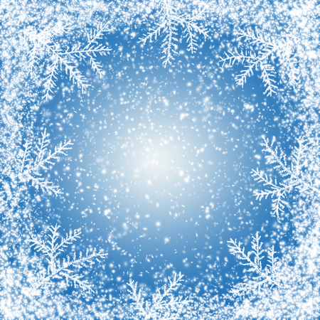 Christmas and New Year snow background with spruce