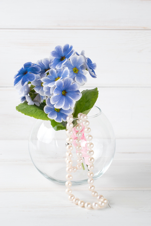 Bouquet of primroses in round vase and womens pearl necklace Stock Photo
