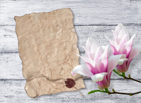 sealing: Magnolia and papyrus with sealing wax on background of shabby wooden planks
