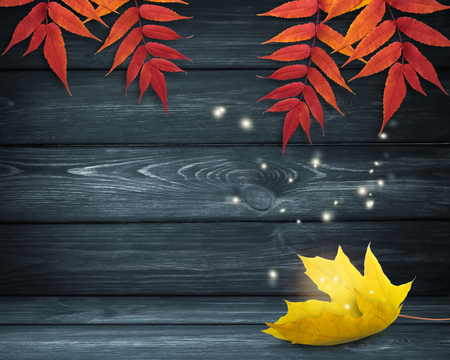 Autumn room interior with yellow maple leaf lying on dark wooden table and shiny sparkles flying outside. Empty place for decoration or text. Stock Photo