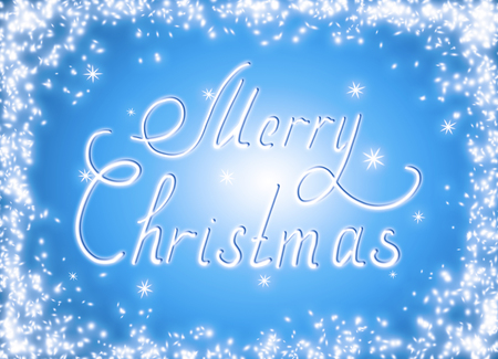 Christmas glowing background with snow frame and snowflakes. New Year winter holidays concept. Calligraphic text written by hand.    Stock Photo