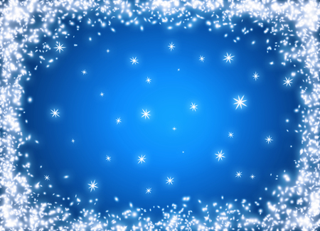 Christmas glowing background with snow frame and snowflakes. New Year winter holidays concept. Empty place for photo or text. Copy space.