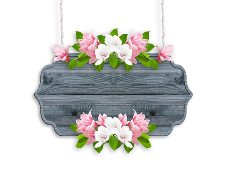 Magnolia flowers isolated on white background with wooden signboard  and place for your photo or text. Floral garland. Copy space.
