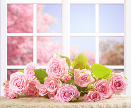Room interior with window frame and rose flowers lying on sackcloth. Spring sunny day with pink sakura trees outside.