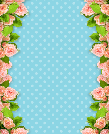 Pink roses frame on blue polka dots background with place for your photo or text