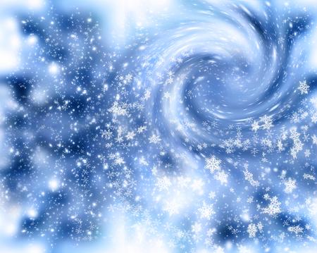 Weihnachtshintergrund mit Schneefällen und Schneeflocken. Winterurlaub Schneesturm des neuen Jahres. Standard-Bild