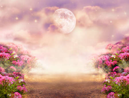 Fantasy photo background with rose field, dramatic sky with moon and stars, misty path leading across hills to mysterious glow. Tranquil evening scene. Photo of moon is taken by me with my camera.