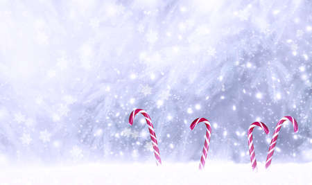 Christmas fabulous card with candy canes lollipops in snowdrift on winter snow background with snowfall and snowflakes. Fantasy new year landscape with snowy fir tree forest, copy space.