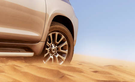 Close up of a golden car stuck in the sand in the Namib desert. Africa Banque d'images