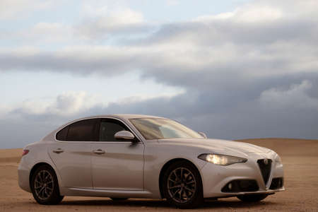 Alfa Romeo Giulia standing in the middle of the desert 06.12.2020. Walvis Bay, Namibia