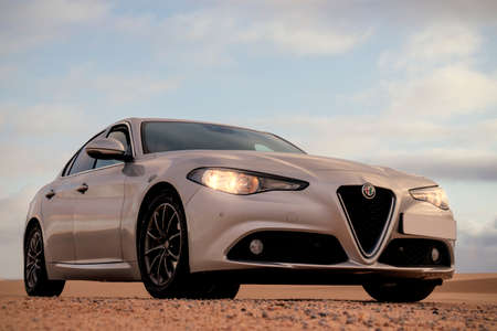 Alfa Romeo Giulia standing in the middle of the desert 16.04.2021. Walvis Bay, Namibia