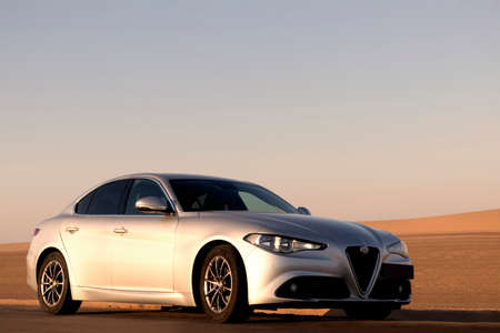 Alfa Romeo Giulia standing in the middle of the desert 14.06.2021. Walvis Bay, Namibia