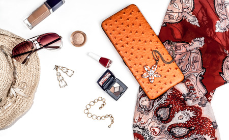 clutch bag: bright trendy accessories for women on a white background