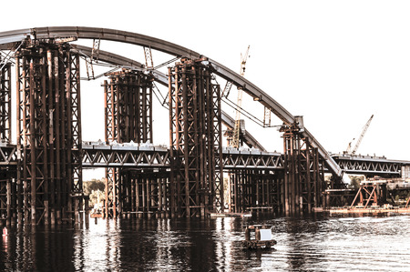 New bridge under construction in Kiev, Ukraine