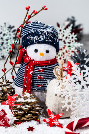 snowflake snow: Holiday decorations in bright colors on a white background (New Year, Christmas)