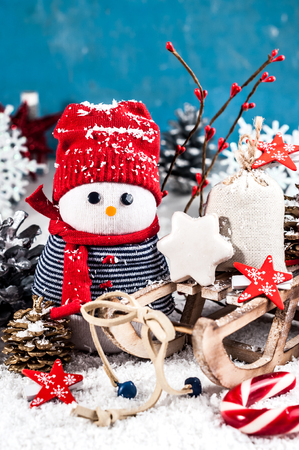 Holiday decorations in bright colors on a white background (New Year, Christmas)