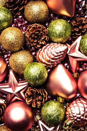 background of Christmas decorative ornaments, toys in different colors Stock Photo